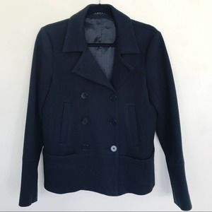 Theory Black Double Breasted Wool Pea Coat 6